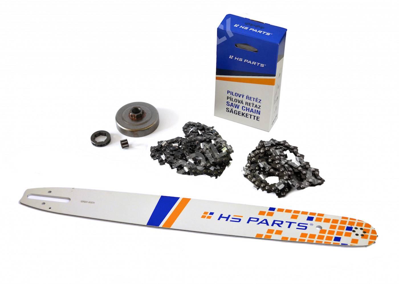 """HS PARTS Vodící lišta 20"""" (50cm) + 2 x řetěz .3/8"""" 1,6mm 72 čl. + řetězka pro Stihl MS361"""