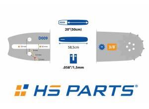 """HS PARTS Akční set vodící lišta 20"""" (50 cm) 3/8"""" .058"""" (1,5 mm) + pilový řetěz 72 čl."""